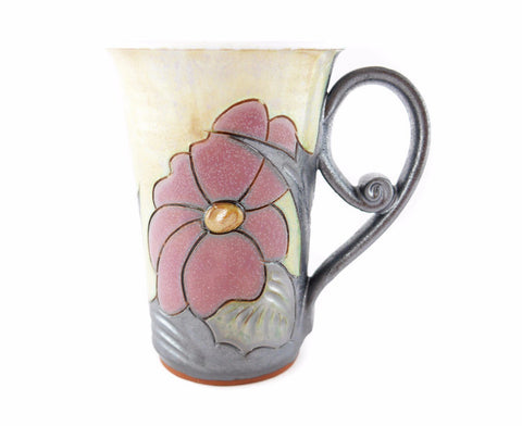 Handmade Pottery Mug 8.5oz Flower - Handmade Ceramics and pottery | Teapots, Coffee and Tea Mugs, Vases, Bowls, Plates, Ashtrays | Handmade stoneware - 1