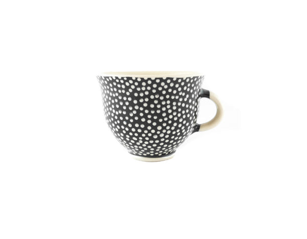 Handmade Pottery Coffee Mug 6.7oz With Dots Yin and Yang - Handmade Ceramics and pottery | Teapots, Coffee and Tea Mugs, Vases, Bowls, Plates, Ashtrays | Handmade stoneware - 1