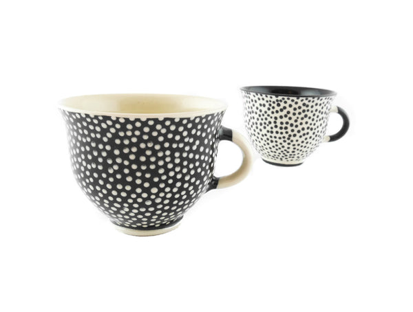 Handmade Pottery Coffee Mug 6.7oz With Dots Yin and Yang - Handmade Ceramics and pottery | Teapots, Coffee and Tea Mugs, Vases, Bowls, Plates, Ashtrays | Handmade stoneware - 6