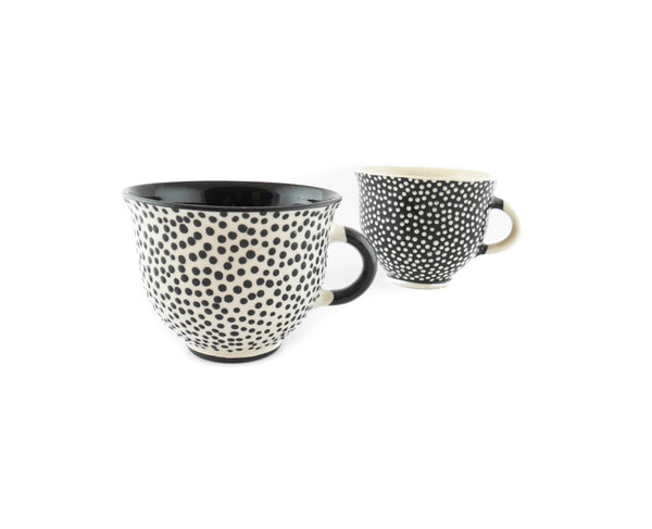 Handmade Pottery Coffee Mug 6.7oz with dots and Yin and Yang. - Handmade Ceramics and pottery | Teapots, Coffee and Tea Mugs, Vases, Bowls, Plates, Ashtrays | Handmade stoneware - 2