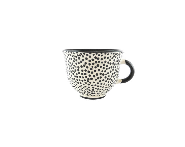 Handmade Pottery Coffee Mug 6.7oz with dots and Yin and Yang. - Handmade Ceramics and pottery | Teapots, Coffee and Tea Mugs, Vases, Bowls, Plates, Ashtrays | Handmade stoneware - 1