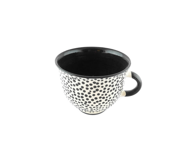 Handmade Pottery Coffee Mug 6.7oz with dots and Yin and Yang. - Handmade Ceramics and pottery | Teapots, Coffee and Tea Mugs, Vases, Bowls, Plates, Ashtrays | Handmade stoneware - 6