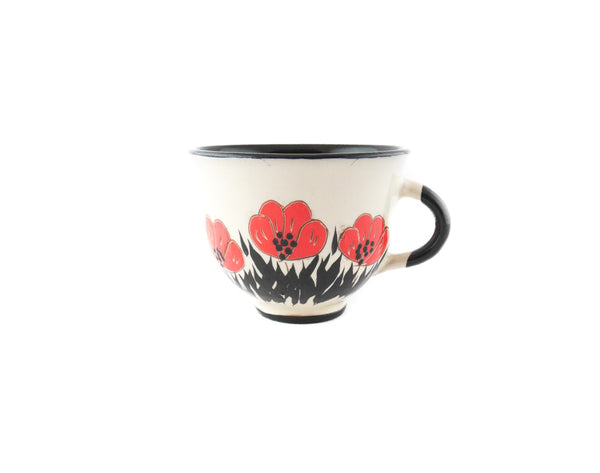 Handmade Pottery Coffee Cup 6.7oz with red Poppy Yin and Yang. - Handmade Ceramics and pottery | Teapots, Coffee and Tea Mugs, Vases, Bowls, Plates, Ashtrays | Handmade stoneware - 1