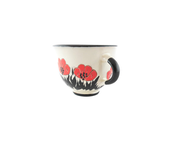 Handmade Pottery Coffee Cup 6.7oz with red Poppy Yin and Yang. - Handmade Ceramics and pottery | Teapots, Coffee and Tea Mugs, Vases, Bowls, Plates, Ashtrays | Handmade stoneware - 2