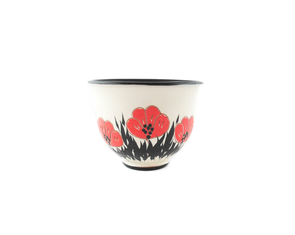 Handmade Pottery Coffee Cup 6.7oz with red Poppy Yin and Yang. - Handmade Ceramics and pottery | Teapots, Coffee and Tea Mugs, Vases, Bowls, Plates, Ashtrays | Handmade stoneware - 3