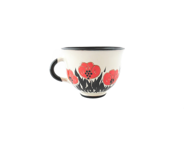Handmade Pottery Coffee Cup 6.7oz with red Poppy Yin and Yang. - Handmade Ceramics and pottery | Teapots, Coffee and Tea Mugs, Vases, Bowls, Plates, Ashtrays | Handmade stoneware - 4