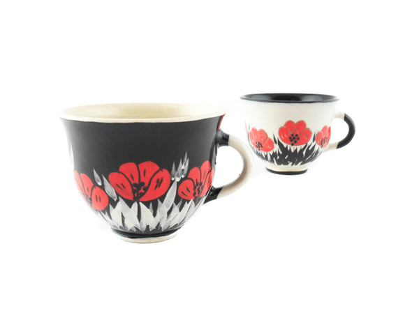 Handmade Pottery Coffee Mug 6.7oz Black with red poppy Yin and Yang - Handmade Ceramics and pottery | Teapots, Coffee and Tea Mugs, Vases, Bowls, Plates, Ashtrays | Handmade stoneware - 6