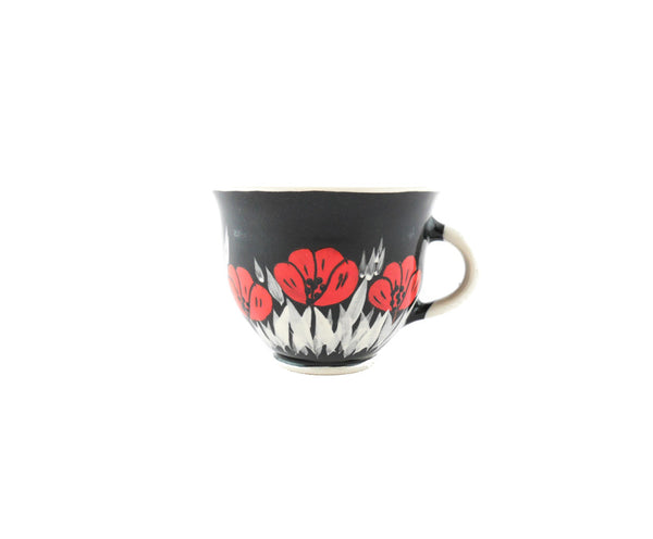 Handmade Pottery Coffee Mug 6.7oz Black with red poppy Yin and Yang - Handmade Ceramics and pottery | Teapots, Coffee and Tea Mugs, Vases, Bowls, Plates, Ashtrays | Handmade stoneware - 1