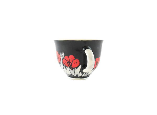 Handmade Pottery Coffee Mug 6.7oz Black with red poppy Yin and Yang - Handmade Ceramics and pottery | Teapots, Coffee and Tea Mugs, Vases, Bowls, Plates, Ashtrays | Handmade stoneware - 2