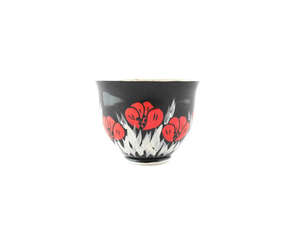 Handmade Pottery Coffee Mug 6.7oz Black with red poppy Yin and Yang - Handmade Ceramics and pottery | Teapots, Coffee and Tea Mugs, Vases, Bowls, Plates, Ashtrays | Handmade stoneware - 3