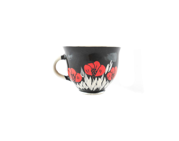Handmade Pottery Coffee Mug 6.7oz Black with red poppy Yin and Yang - Handmade Ceramics and pottery | Teapots, Coffee and Tea Mugs, Vases, Bowls, Plates, Ashtrays | Handmade stoneware - 4