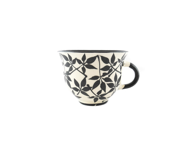 Handmade Pottery Coffee Cup 6.7oz with small leafs Yin and Yang - Handmade Ceramics and pottery | Teapots, Coffee and Tea Mugs, Vases, Bowls, Plates, Ashtrays | Handmade stoneware - 1