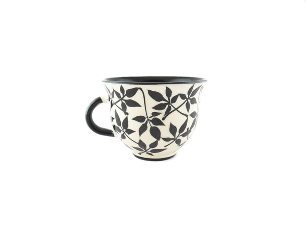 Handmade Pottery Coffee Cup 6.7oz with small leafs Yin and Yang - Handmade Ceramics and pottery | Teapots, Coffee and Tea Mugs, Vases, Bowls, Plates, Ashtrays | Handmade stoneware - 4