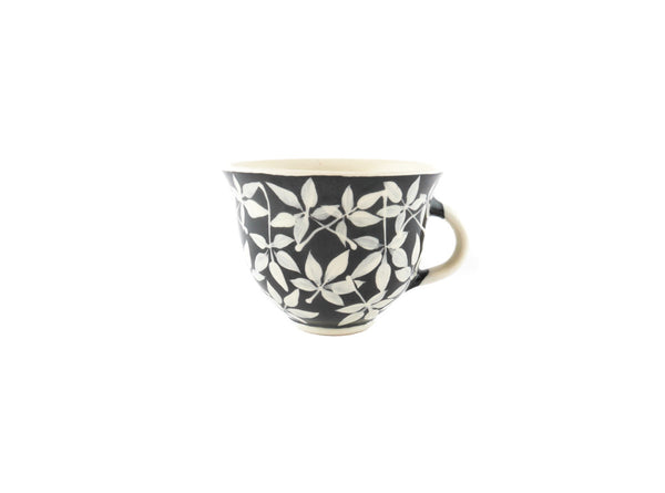 Handmade Pottery Coffee Mug 6.7oz Small with leafs Yin and Yang - Handmade Ceramics and pottery | Teapots, Coffee and Tea Mugs, Vases, Bowls, Plates, Ashtrays | Handmade stoneware - 1
