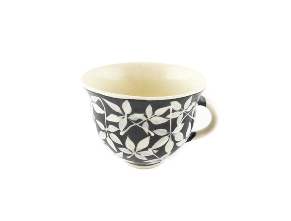 Handmade Pottery Coffee Mug 6.7oz Small with leafs Yin and Yang - Handmade Ceramics and pottery | Teapots, Coffee and Tea Mugs, Vases, Bowls, Plates, Ashtrays | Handmade stoneware - 5
