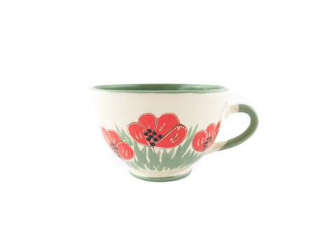Handmade Pottery Coffee Cup 6.7oz Green with red poppy Yin and Yang. - Handmade Ceramics and pottery | Teapots, Coffee and Tea Mugs, Vases, Bowls, Plates, Ashtrays | Handmade stoneware - 1
