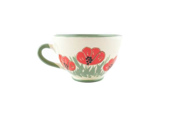 Handmade Pottery Coffee Cup 6.7oz Green with red poppy Yin and Yang. - Handmade Ceramics and pottery | Teapots, Coffee and Tea Mugs, Vases, Bowls, Plates, Ashtrays | Handmade stoneware - 4