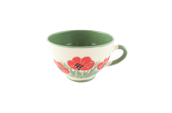 Handmade Pottery Coffee Cup 6.7oz Green with red poppy Yin and Yang. - Handmade Ceramics and pottery | Teapots, Coffee and Tea Mugs, Vases, Bowls, Plates, Ashtrays | Handmade stoneware - 5