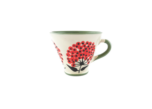Handmade Pottery Coffee Mug 5oz Green with Red Umbel Yin and Yang - Handmade Ceramics and pottery | Teapots, Coffee and Tea Mugs, Vases, Bowls, Plates, Ashtrays | Handmade stoneware - 1