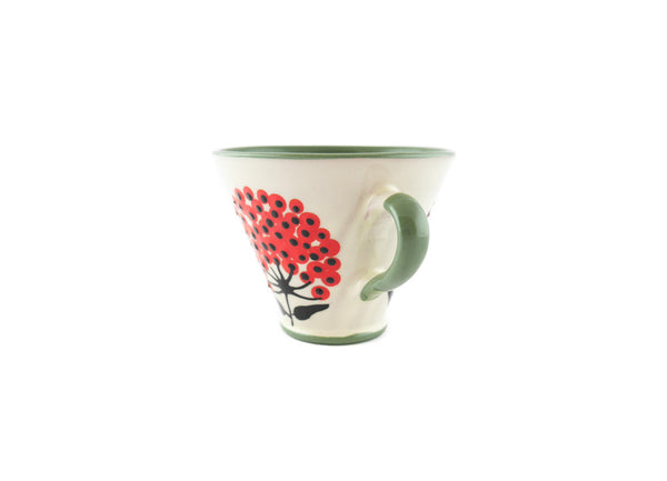 Handmade Pottery Coffee Mug 5oz Green with Red Umbel Yin and Yang - Handmade Ceramics and pottery | Teapots, Coffee and Tea Mugs, Vases, Bowls, Plates, Ashtrays | Handmade stoneware - 2