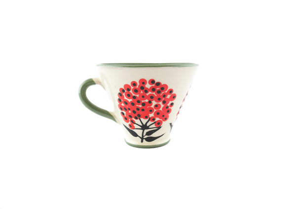 Handmade Pottery Coffee Mug 5oz Green with Red Umbel Yin and Yang - Handmade Ceramics and pottery | Teapots, Coffee and Tea Mugs, Vases, Bowls, Plates, Ashtrays | Handmade stoneware - 4