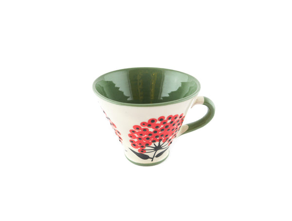 Handmade Pottery Coffee Mug 5oz Green with Red Umbel Yin and Yang - Handmade Ceramics and pottery | Teapots, Coffee and Tea Mugs, Vases, Bowls, Plates, Ashtrays | Handmade stoneware - 5