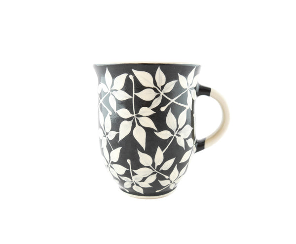 Handmade Pottery Coffee Mug 13oz with Leafs Yin and Yang - Handmade Ceramics and pottery | Teapots, Coffee and Tea Mugs, Vases, Bowls, Plates, Ashtrays | Handmade stoneware - 1