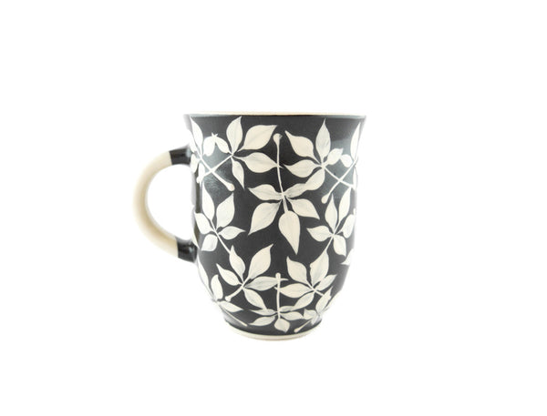 Handmade Pottery Coffee Mug 13oz with Leafs Yin and Yang - Handmade Ceramics and pottery | Teapots, Coffee and Tea Mugs, Vases, Bowls, Plates, Ashtrays | Handmade stoneware - 4