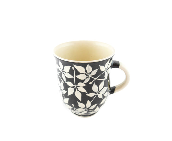 Handmade Pottery Coffee Mug 13oz with Leafs Yin and Yang - Handmade Ceramics and pottery | Teapots, Coffee and Tea Mugs, Vases, Bowls, Plates, Ashtrays | Handmade stoneware - 5