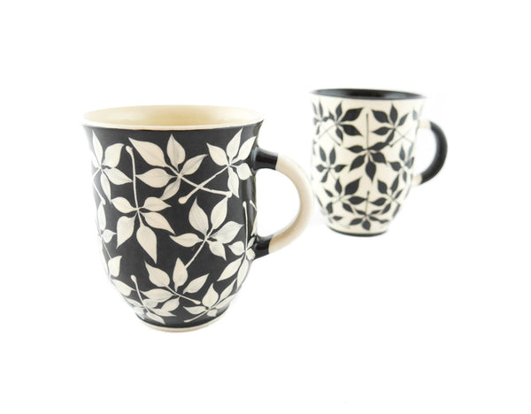 Handmade Pottery Coffee Mug 13oz with Leafs Yin and Yang - Handmade Ceramics and pottery | Teapots, Coffee and Tea Mugs, Vases, Bowls, Plates, Ashtrays | Handmade stoneware - 6
