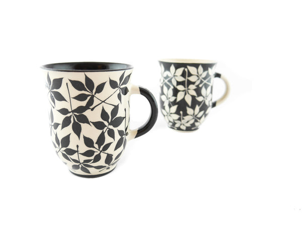Handmade Pottery Coffee Mug 13oz with black leafs Yin and Yang - Handmade Ceramics and pottery | Teapots, Coffee and Tea Mugs, Vases, Bowls, Plates, Ashtrays | Handmade stoneware - 6