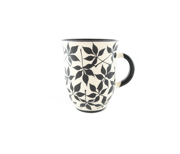 Handmade Pottery Coffee Mug 13oz with black leafs Yin and Yang - Handmade Ceramics and pottery | Teapots, Coffee and Tea Mugs, Vases, Bowls, Plates, Ashtrays | Handmade stoneware - 1