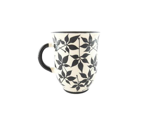 Handmade Pottery Coffee Mug 13oz with black leafs Yin and Yang - Handmade Ceramics and pottery | Teapots, Coffee and Tea Mugs, Vases, Bowls, Plates, Ashtrays | Handmade stoneware - 4