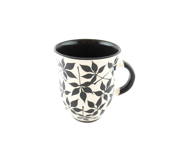 Handmade Pottery Coffee Mug 13oz with black leafs Yin and Yang - Handmade Ceramics and pottery | Teapots, Coffee and Tea Mugs, Vases, Bowls, Plates, Ashtrays | Handmade stoneware - 5
