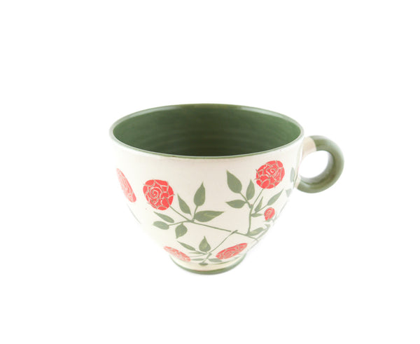 Handmade Pottery Coffee Mug 13oz with red roses Yin and Yang. - Handmade Ceramics and pottery | Teapots, Coffee and Tea Mugs, Vases, Bowls, Plates, Ashtrays | Handmade stoneware - 5