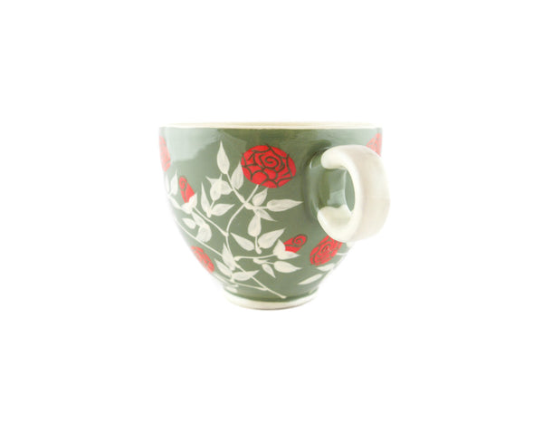 Handmade Pottery Coffee Mug 13oz with Roses Yin and Yang - Handmade Ceramics and pottery | Teapots, Coffee and Tea Mugs, Vases, Bowls, Plates, Ashtrays | Handmade stoneware - 2