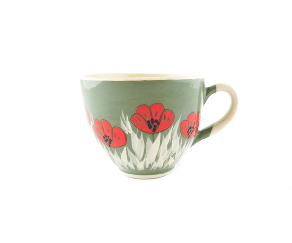 Handmade Pottery Cup 13oz with red poppy for tea or coffee - Handmade Ceramics and pottery | Teapots, Coffee and Tea Mugs, Vases, Bowls, Plates, Ashtrays | Handmade stoneware - 1