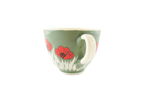 Handmade Pottery Cup 13oz with red poppy for tea or coffee - Handmade Ceramics and pottery | Teapots, Coffee and Tea Mugs, Vases, Bowls, Plates, Ashtrays | Handmade stoneware - 2