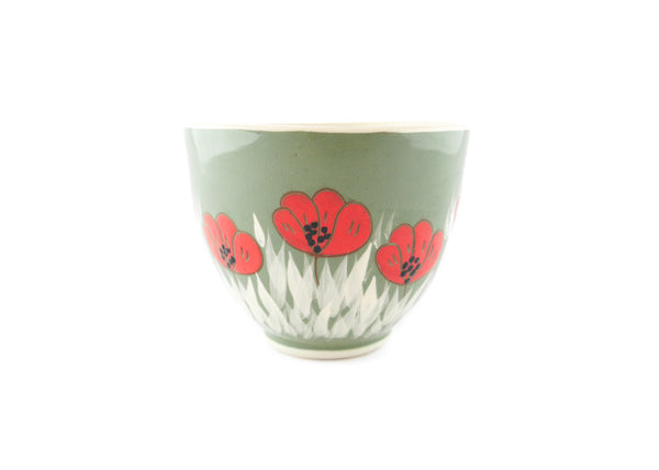 Handmade Pottery Cup 13oz with red poppy for tea or coffee - Handmade Ceramics and pottery | Teapots, Coffee and Tea Mugs, Vases, Bowls, Plates, Ashtrays | Handmade stoneware - 3