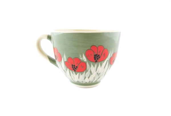 Handmade Pottery Cup 13oz with red poppy for tea or coffee - Handmade Ceramics and pottery | Teapots, Coffee and Tea Mugs, Vases, Bowls, Plates, Ashtrays | Handmade stoneware - 4