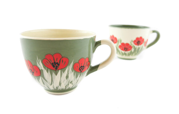 Handmade Pottery Cup 13oz with red poppy for tea or coffee - Handmade Ceramics and pottery | Teapots, Coffee and Tea Mugs, Vases, Bowls, Plates, Ashtrays | Handmade stoneware - 6