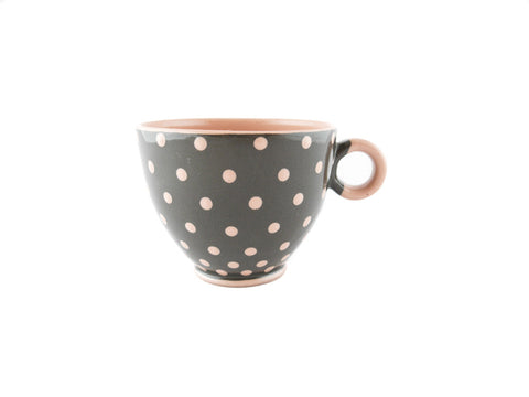 Handmade Pottery Pink Polka Dot Cup 13oz Yin and Yang - Handmade Ceramics and pottery | Teapots, Coffee and Tea Mugs, Vases, Bowls, Plates, Ashtrays | Handmade stoneware - 1