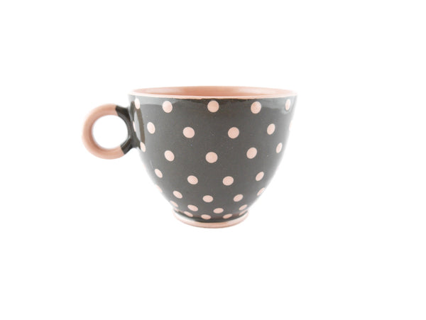 Handmade Pottery Pink Polka Dot Cup 13oz Yin and Yang - Handmade Ceramics and pottery | Teapots, Coffee and Tea Mugs, Vases, Bowls, Plates, Ashtrays | Handmade stoneware - 4