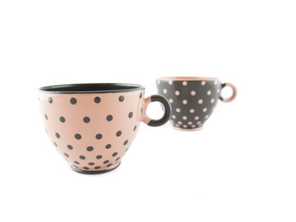 Handmade Pottery Polka Dot Cup 13oz with Gray Dots Yin and Yang - Handmade Ceramics and pottery | Teapots, Coffee and Tea Mugs, Vases, Bowls, Plates, Ashtrays | Handmade stoneware - 5