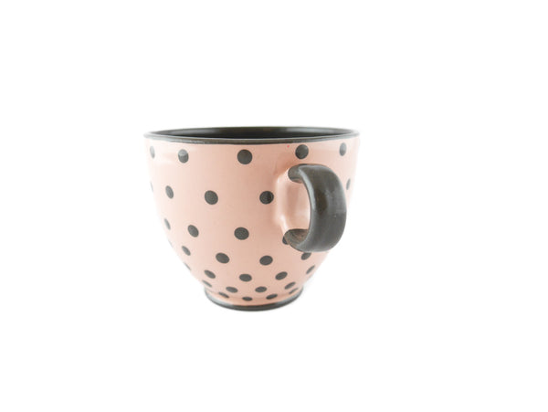 Handmade Pottery Polka Dot Cup 13oz with Gray Dots Yin and Yang - Handmade Ceramics and pottery | Teapots, Coffee and Tea Mugs, Vases, Bowls, Plates, Ashtrays | Handmade stoneware - 2