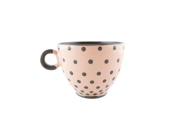 Handmade Pottery Polka Dot Cup 13oz with Gray Dots Yin and Yang - Handmade Ceramics and pottery | Teapots, Coffee and Tea Mugs, Vases, Bowls, Plates, Ashtrays | Handmade stoneware - 4