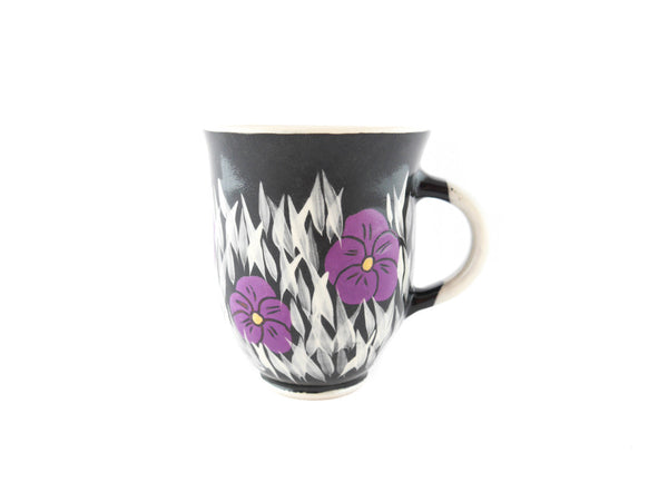Handmade Pottery Coffee Mug 13oz Violets Yin and Yang - Handmade Ceramics and pottery | Teapots, Coffee and Tea Mugs, Vases, Bowls, Plates, Ashtrays | Handmade stoneware - 1