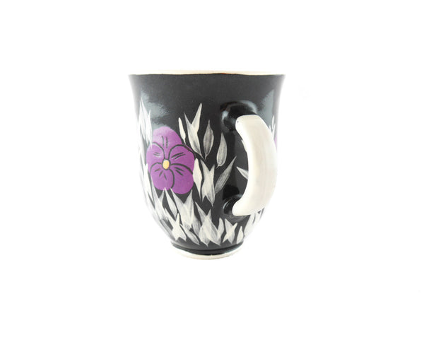 Handmade Pottery Coffee Mug 13oz Violets Yin and Yang - Handmade Ceramics and pottery | Teapots, Coffee and Tea Mugs, Vases, Bowls, Plates, Ashtrays | Handmade stoneware - 2