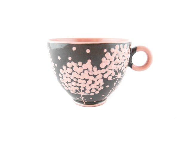 Handmade Pottery Cup 13oz with pink tree and Yin and Yang - Handmade Ceramics and pottery | Teapots, Coffee and Tea Mugs, Vases, Bowls, Plates, Ashtrays | Handmade stoneware - 1