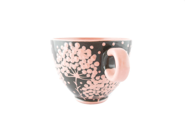 Handmade Pottery Cup 13oz with pink tree and Yin and Yang - Handmade Ceramics and pottery | Teapots, Coffee and Tea Mugs, Vases, Bowls, Plates, Ashtrays | Handmade stoneware - 2